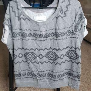 Gray Aztec Fleece Short Sleeve Sweatshirt